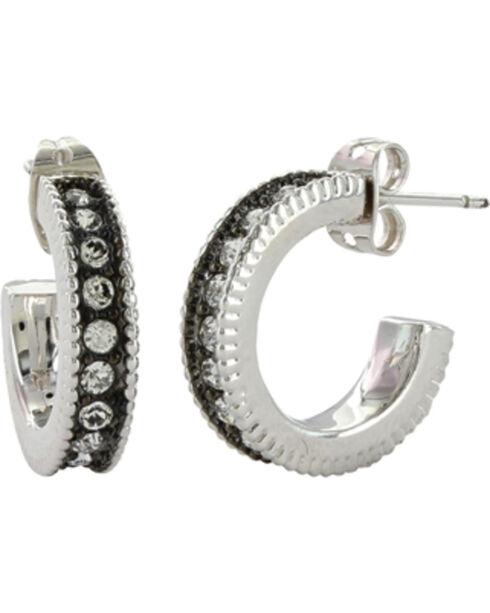 Montana Silversmiths Women's Midnight Starlight Hoop Earrings , Silver, hi-res