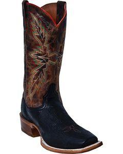 Dan Post Bender Smooth Ostrich Cowboy Boots - Square Toe, Black, hi-res