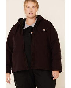 Carhartt Women's Deep Wine Washed Duck Sherpa-Lined Jacket - Plus, Wine, hi-res
