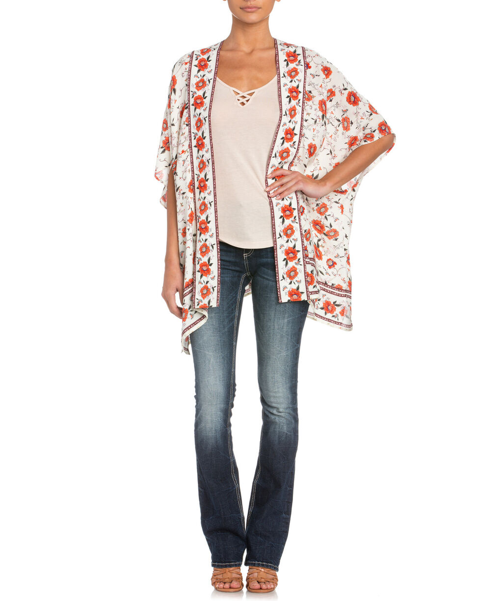 Miss Me Women's Floral Getaway Cardigan, Cream, hi-res