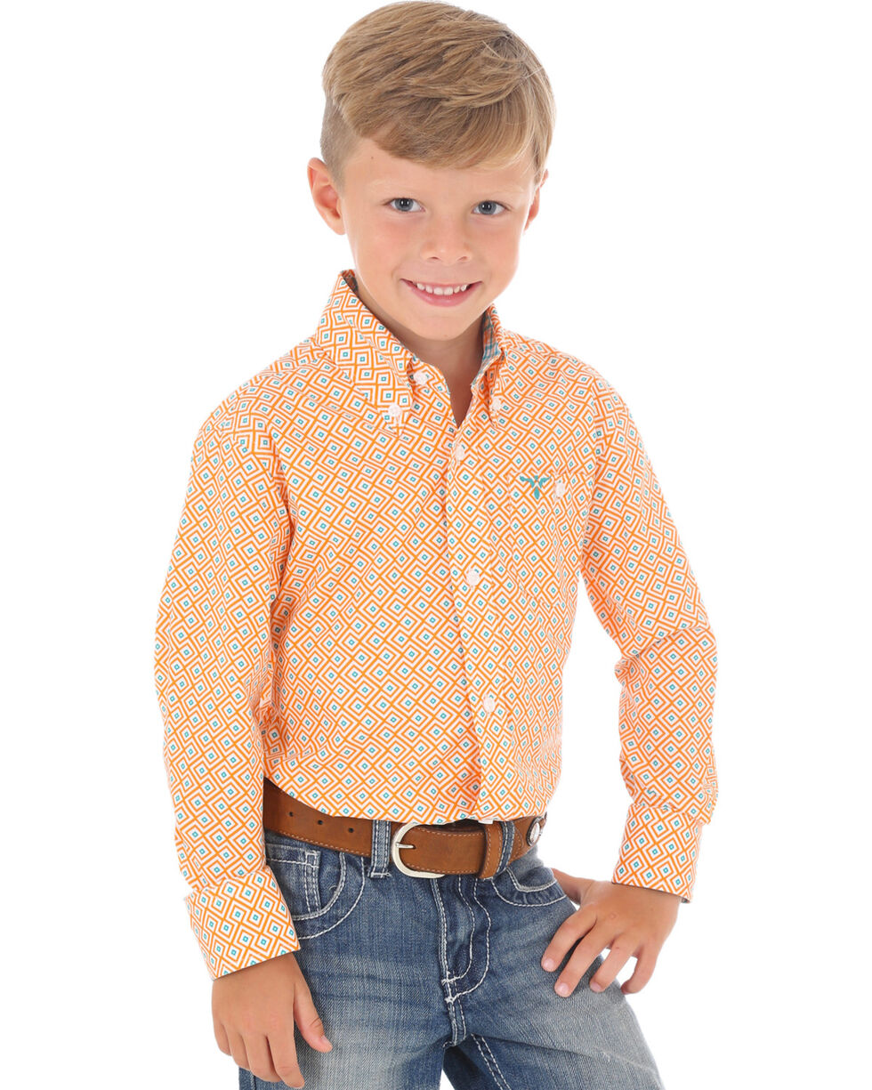 Wrangler Boys' Orange 20X Advanced Comfort Competition Shirt , Orange, hi-res