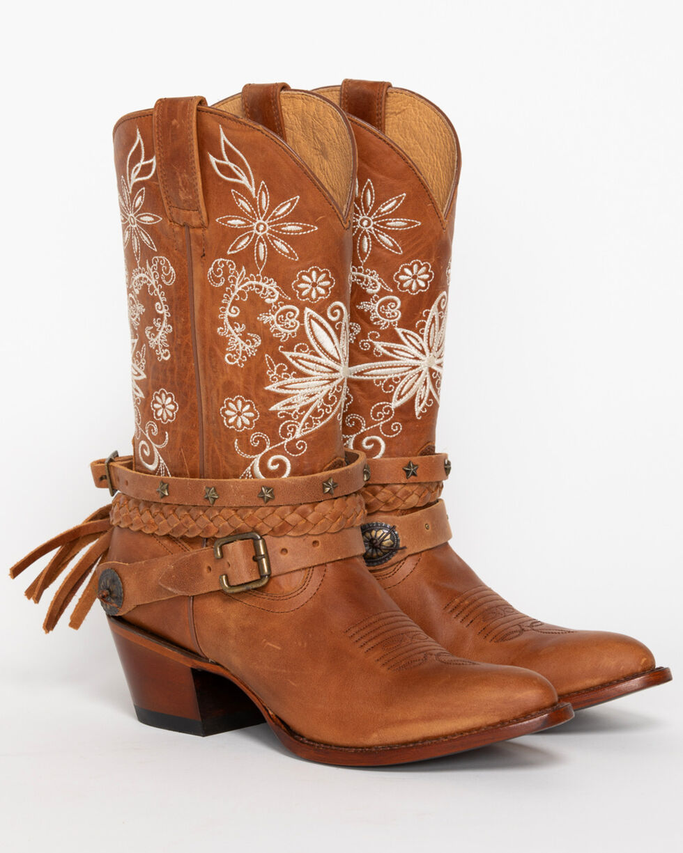 Shyanne Women's Floral Festival Western Boot - Pointed Toe, Brown, hi-res