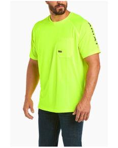 Ariat Men's Lime Rebar Heat Fighter Short Sleeve Work T-Shirt - Big , Bright Green, hi-res