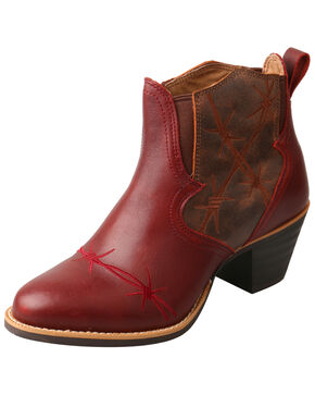 Twisted X Women's Western Fashion Booties - Round Toe, Wine, hi-res