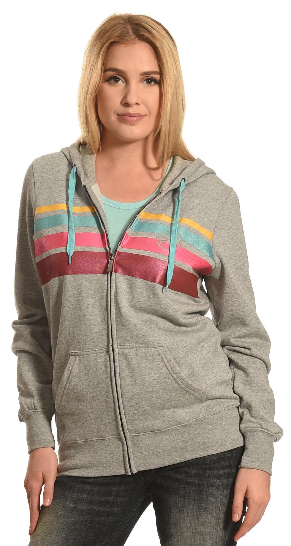 HOOey Women's Grey Stripe Chest Full Zip Hoodie , Grey, hi-res