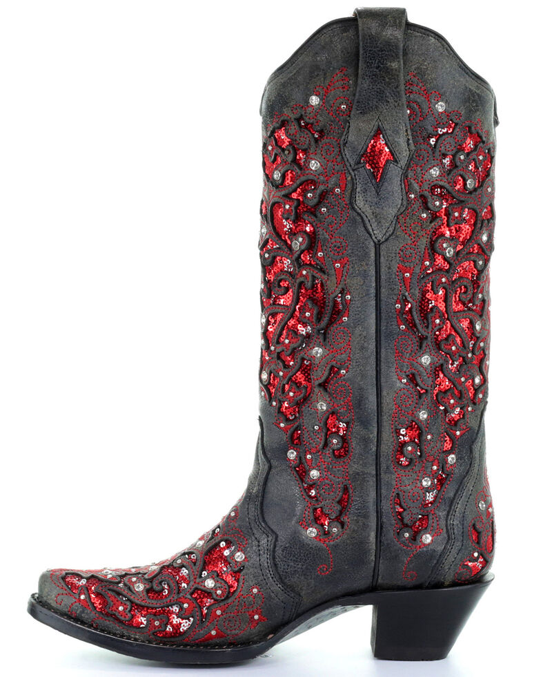 Corral Women's Crystal and Red Sequin Inlay Cowgirl Boots - Snip Toe, Black, hi-res