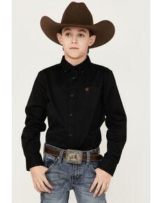 Ariat Boys' Black Solid Twill Long Sleeve Button-Down Western Shirt , Black, hi-res