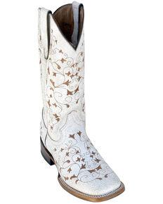 Ferrini Women's Honeysickle Western Boots - Square Toe, White, hi-res