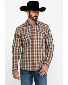Cody James Men's Honky Tonk Plaid Long Sleeve Western Shirt , Brown, hi-res