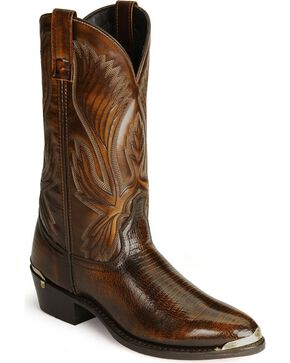 Laredo Lizard Print Cowboy Boots - Round Toe, Cognac, hi-res