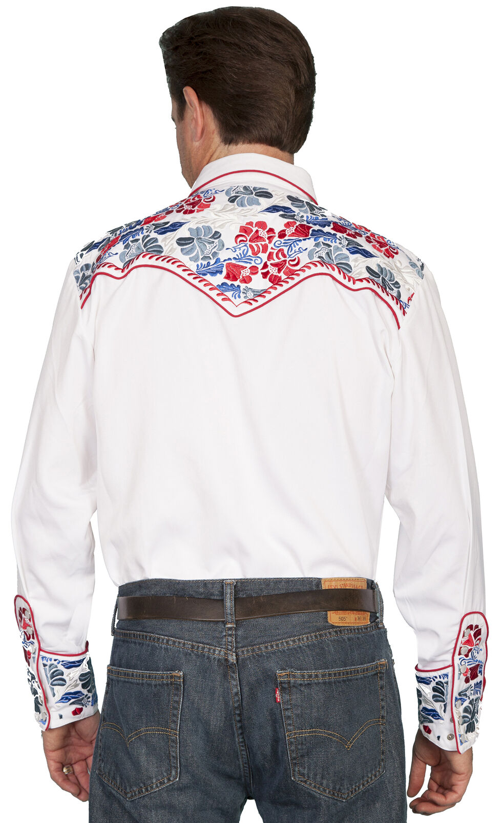 Scully Multi-Colored Floral Embroidered Shirt - Big and Tall, White, hi-res