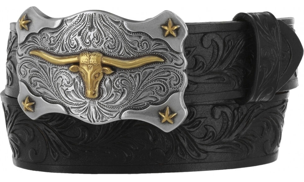 Tony Lama Boys' Black Little Texas Belt and Buckle , Black, hi-res