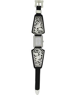 Montana Silversmiths Leathercut Floral Scroll Dress Watch, Silver, hi-res