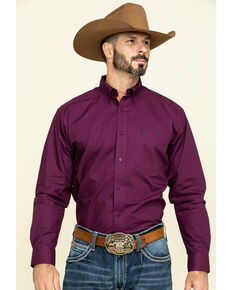 Ariat Men's Isherwood Triangle Geo Print Long Sleeve Western Shirt , Purple, hi-res