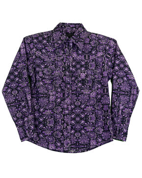 Cowgirl Hardware Girls' Peacock Long Sleeve Western Shirt, Purple, hi-res
