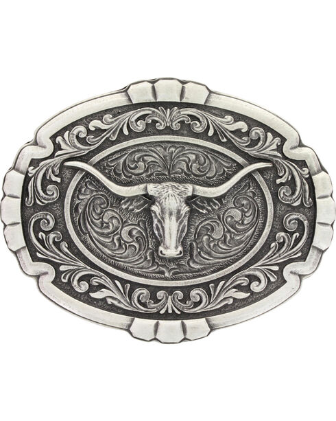 Montana Silversmiths Men's Silver Longhorn Cameo Belt Buckle , Silver, hi-res
