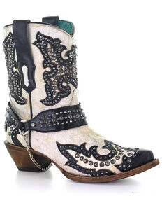 Corral Women's White Studs Western Boots - Snip Toe, Black/white, hi-res