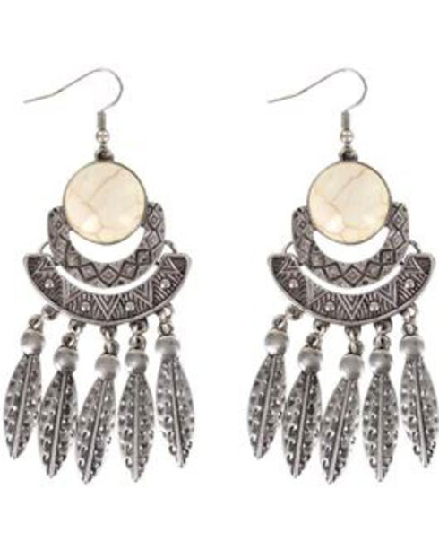 Shyanne Women's Feather Chandelier Earrings, Silver, hi-res