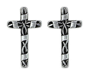 Montana Silversmiths Women's Macrame Cross Earrings , Silver, hi-res
