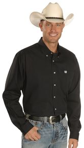 Cinch Men's Solid Button-Down Western Shirt, Black, hi-res