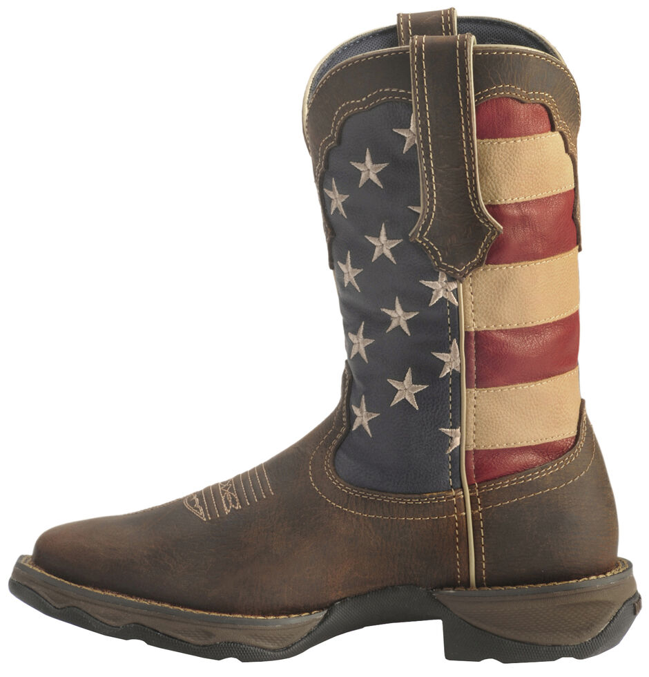 Durango Lady Rebel American Flag Cowgirl Boots - Square Toe, Brown, hi-res