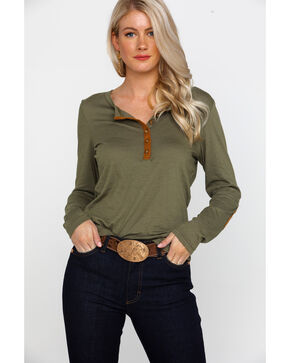 Ariat Women's Mill Button Front Long Sleeve Raglan Shirt , Olive, hi-res