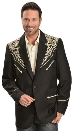 Scully Gold Floral Embroidered Black Western Jacket, Gold, hi-res