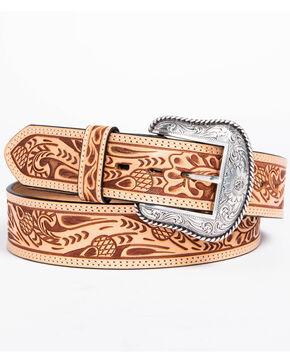 Roper Men's Natural Acorn Hand Tooled Leather Belt, Natural, hi-res