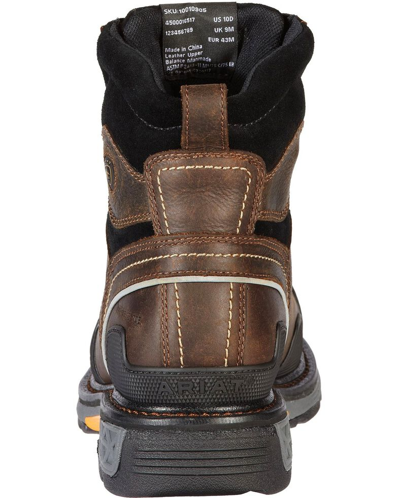 "Ariat Overdrive 6"" Lace-Up Work Boots - Composite Toe, Dark Brown, hi-res"