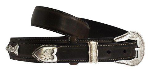 Roper Ranger Concho Leather Belt, Brown, hi-res