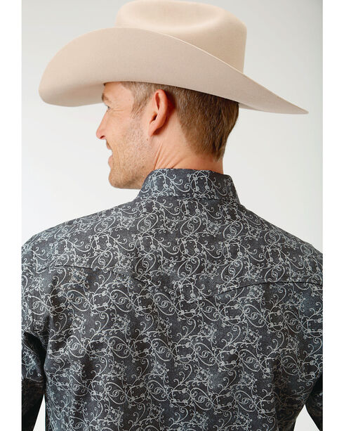 Roper Men's Filigree Pattern Long Sleeve Snap Shirt - Big & Tall, Black, hi-res