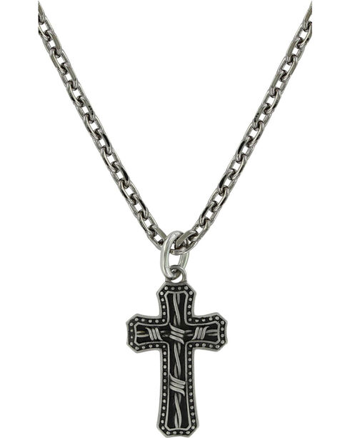 Montana Silversmiths Men's Barbed Wire Cross Necklace , Silver, hi-res