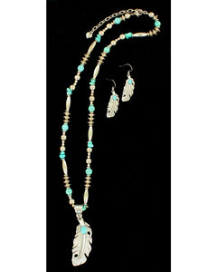 Blazin Roxx Feather Turquoise Necklace & Earrings Set, Silver, hi-res