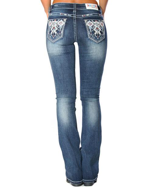 Grace in LA Women's Indigo Tribal Pocket Jeans - Boot Cut , , hi-res
