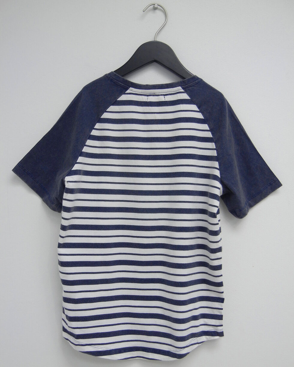Silver Boys' Navy Raglan Striped Henley Tee, Navy, hi-res