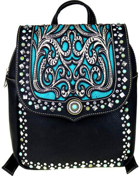 Montana West Women's Boot Scroll Turquoise Concho Backpack, Black, hi-res