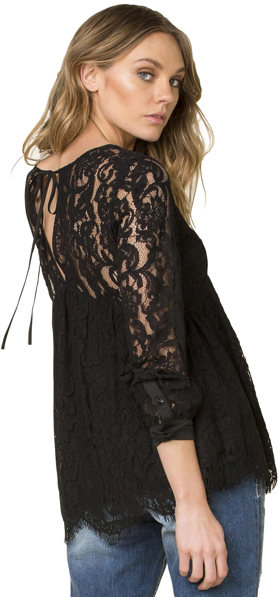 Miss Me Women's Black Lace Tie Back Top , Black, hi-res