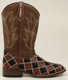 Double Barrel Youth Boys' Andy Patchwork Boots - Square Toe, Brown, hi-res