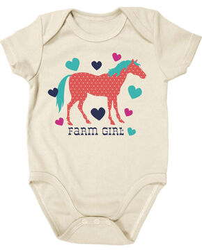 Farm Girl Infant Girls' Ivory Horse and Hearts Onesie , Ivory, hi-res