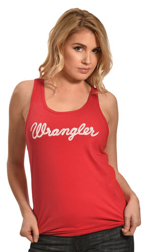Wrangler Women's Red Logo Tank , Red, hi-res
