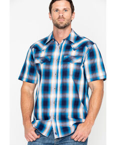64b56e070bbed Cody James Mens Sunset Valley Ombre Plaid Short Sleeve Western Shirt - Big