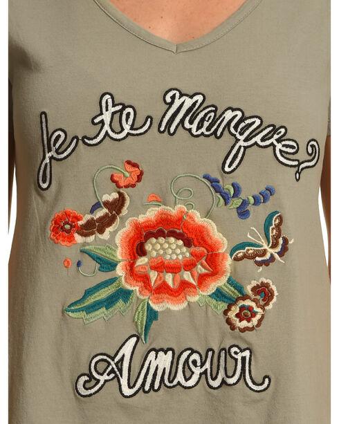 Miss Me Women's Sage Embroidered T-Shirt Dress , Sage, hi-res
