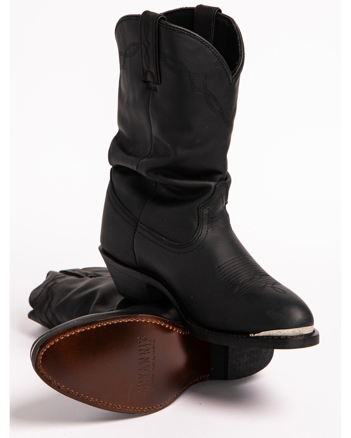 Black Slouch Cowgirl Boots - Medium Toe