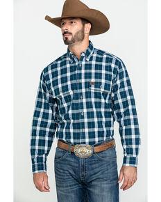 Wrangler Riggs Men's Navy Plaid Long Sleeve Work Shirt - Tall , Navy, hi-res