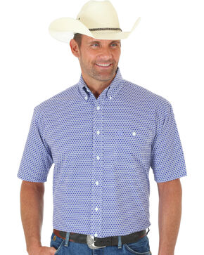 Wrangler George Strait Purple Print Short Sleeve Shirt, Multi, hi-res