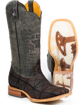 Tin Haul Men's Derrick Western Boots - Square Toe , Brown, hi-res