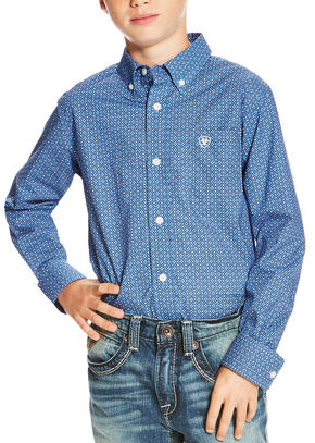 Ariat Boys' Multi Oldham Print Long Sleeve Shirt , Multi, hi-res