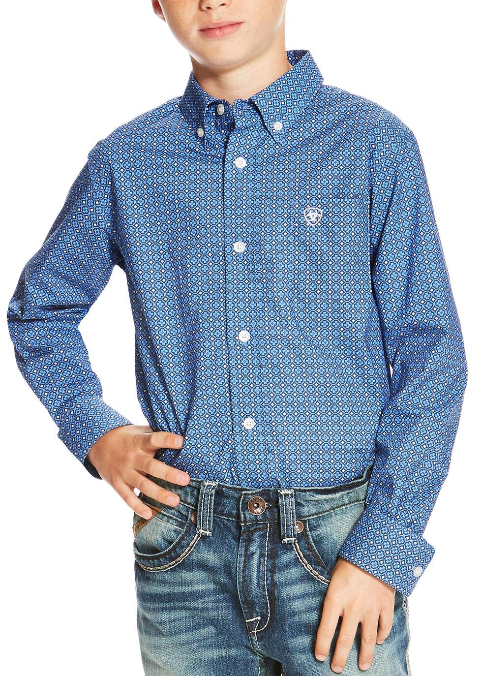 Ariat Boys' Multi Oldham Print Long Sleeve Shirt , Multi, hi-res