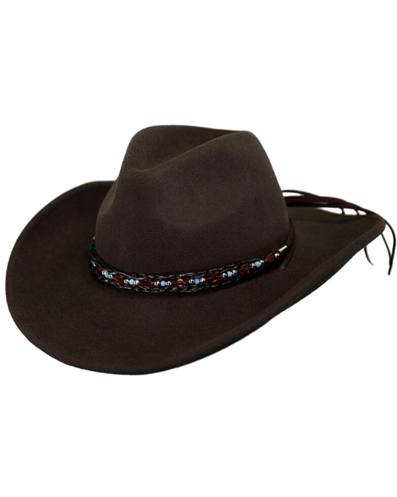 Outback Trading Co. Aubrey UPF50 Sun Protection Crushable Wool Hat, Brown, hi-res