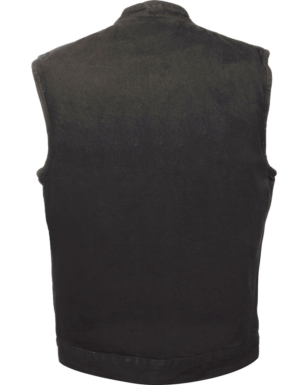Milwaukee Leather Men's Snap Front Denim Club Vest w/ Gun Pocket - Big - 4X, , hi-res